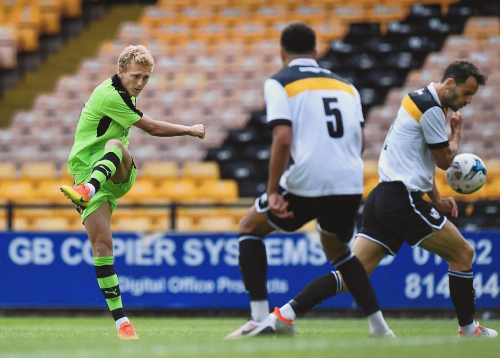 George Saville lets fly in yesterdays preseason friendly at officialpvfchellip
