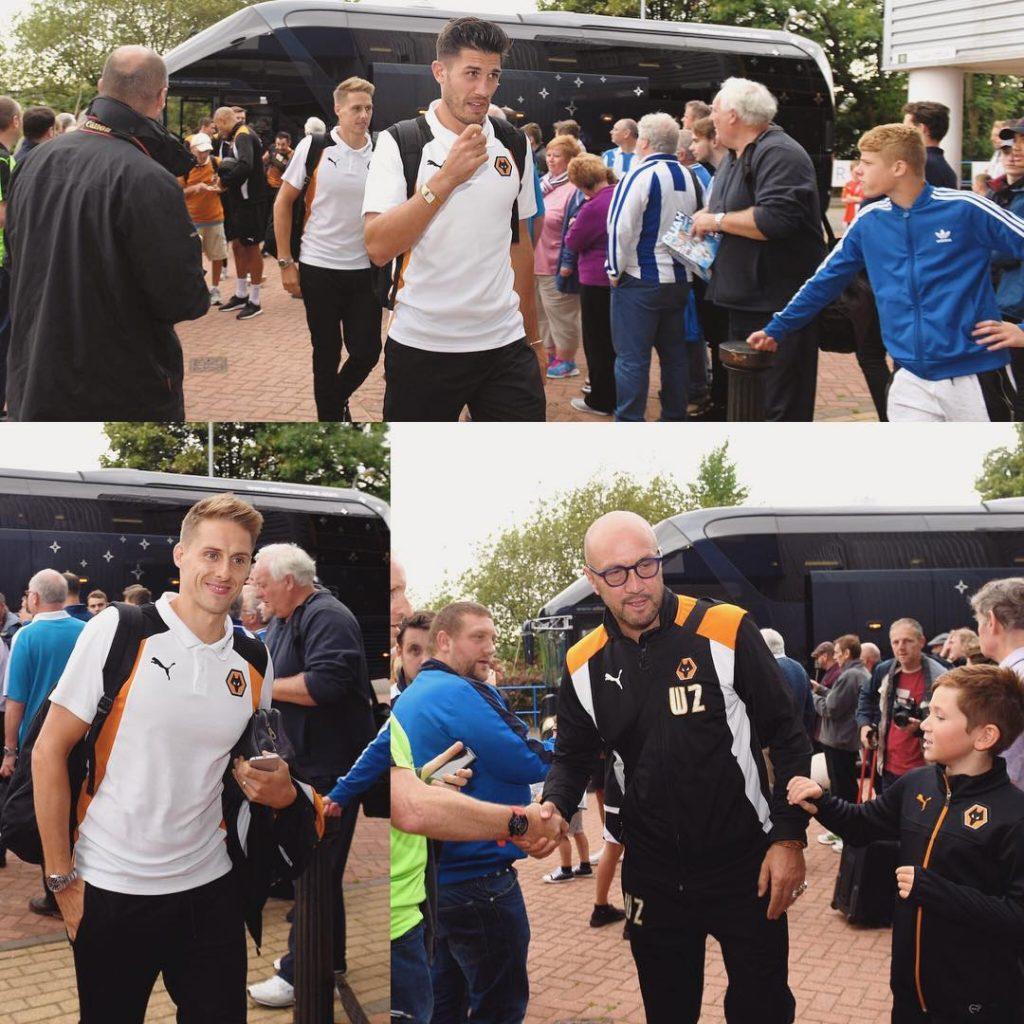 The players and staff arriving at htafcinstagram earlier HUDvWOL WWFChellip