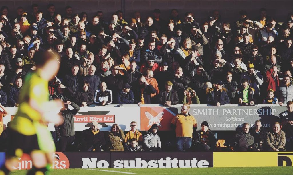 Wolves fans on the terraces at the Pirelli Stadium thishellip